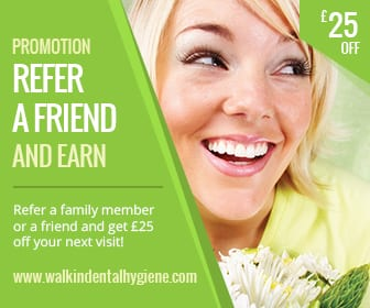Smiling lady holding flowers displaying promotion offer